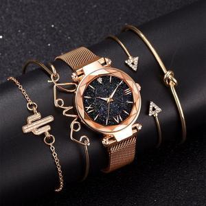 5 шт набор роскошных женщин часы Магнитный звездное небо женские часы кварцевые наручные часы модные женские наручные часы relogio feminino