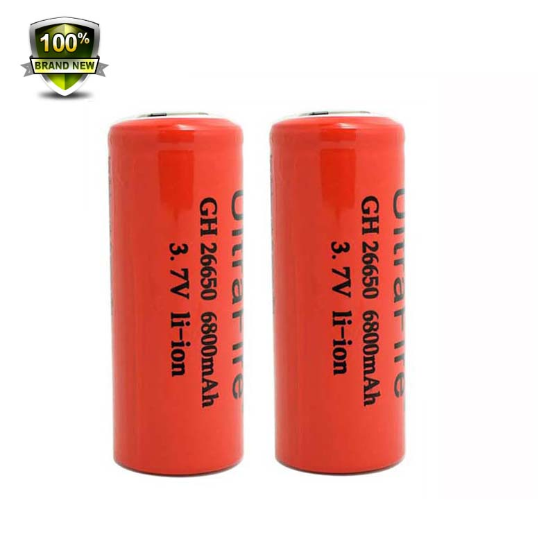 WasaFire 2pcs/lot 6800mAh 3.7V Rechargeable 26650 Protected Li-ion Battery for Led Headlamp Flashlight Accessory