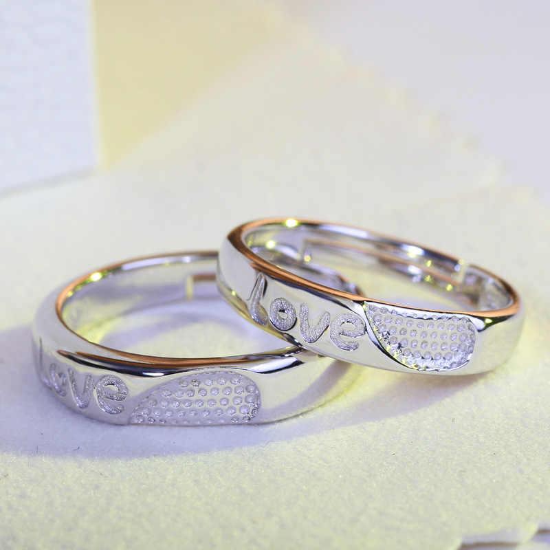 DISINIYA Charm แหวน 925 เงินคริสตัล CZ คู่แหวนผู้หญิงผู้ชายรักหัวใจหมั้นแหวนอัญมณี