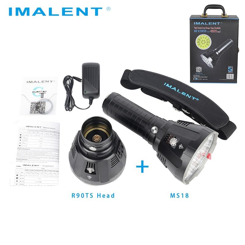Linterna LED Original IMALENT MS18 + Set de cabeza R90TS CREE XHP35 HI/CREE XHP70.2 100000 LM luz de Flash recargable para buscar