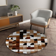 Round Shaped Premium Quality Decoration Gray Real Cowhide Skin Fur Patchwork Rug SALES