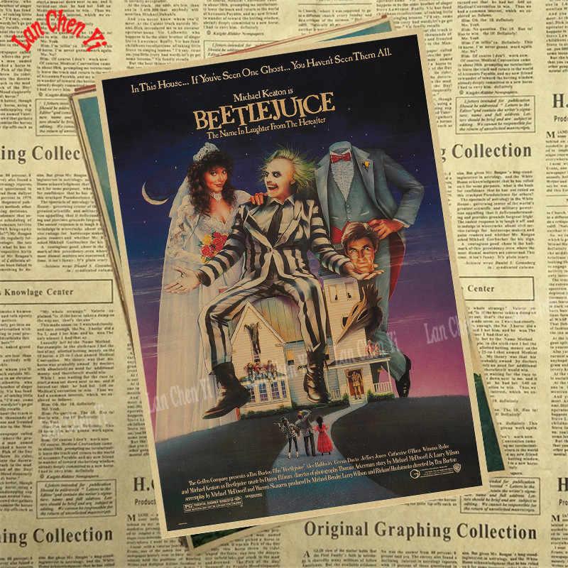 ภาพยนตร์สยองขวัญคลาสสิกโปสเตอร์กระดาษคราฟท์สติ๊กเกอร์ติดผนัง Home Bar โปสเตอร์ศิลปะ Decor