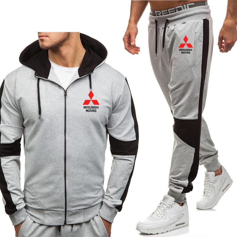 Hoodies Men Mitsubishi Car Logo Print Fashion Casual Harajuku Hooded Fleece Warm Zipper Jacket Sweatshirt Sweatpants Suit 2pcs
