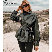 Rockmore Punk Bow Belt Bomber Jackets Women Coat Gothic Harajuku Moto&Biker Leather Jacket Loose Coats Long Sleeve Jackets Fall