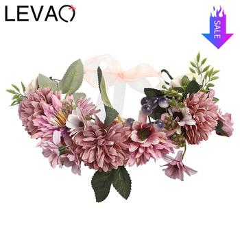 Flower Crown LEVAO 2020 Wedding Bohemian Wreath Hairband Party Floral Girl Hair Accessories Flower Headband Garland Headpiece party glowing wreath halloween crown flower headband women girls led light up hair wreath hairband garlands gift