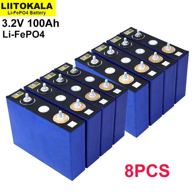 8 قطعة/الوحدة 3.2V 100Ah بطارية LiFePO4 ليثيوم phospha كبيرة قدرة DIY 12V 24V 48V الكهربائية سيارة RV الشمسية الطاقة تخزين نظام