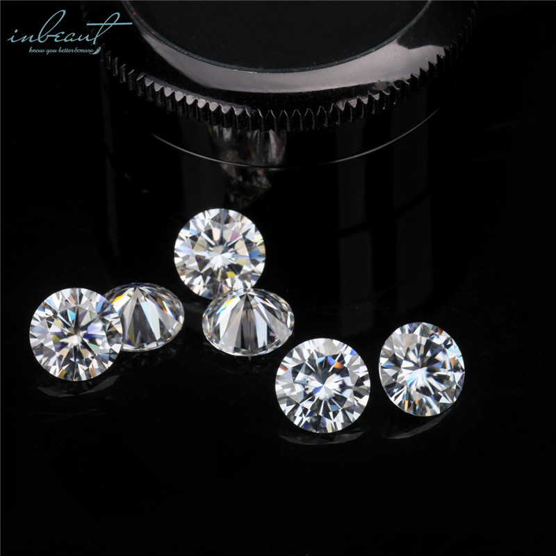 Inbeaut Brilliant Cut 100% Real 1 Ct D Color 10mm Moissanite Perfect VVSI-2 Pass Diamond Test Certificate Gemstone For Ring Gift