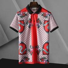 Mercerized cotton tide brand short-sleeved t-shirt men's fashion Kuqi men's t-shirt half-sleeved lapel top