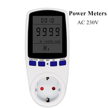 Измерители мощности переменного тока с европейской вилкой, 230 В переменного тока, цифровой ваттметр напряжения, измеритель мощности в ватта...