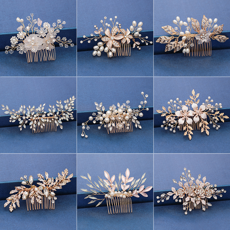 Trendy Handmade Tiara Wedding Hair Comb Leaf flower Bridal Headpiece Gold Pearl Rhinestone Head Jewelry Wedding Hair Accessories