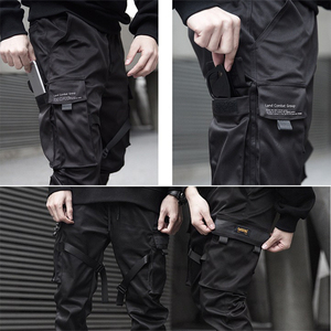 Image 5 - Moda uomo Multi Tasca Harem Pants Hip Hop Pant Nastri Pantaloni di Strada Harajuku Sweatpant Maschio Casual Tactical Cargo Pant