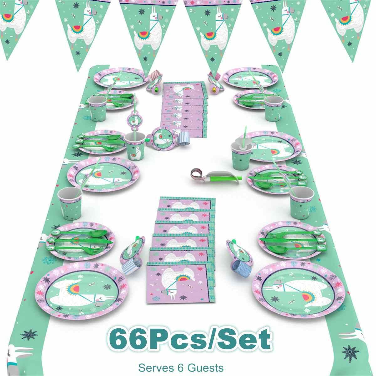 אלפקה יום הולדת מסיבת קישוט הלמה נייר צלחות כוסות מפיות מפת שולחן לילדים שמח מסיבת יום הולדת דקור וגינה 66 Pcs