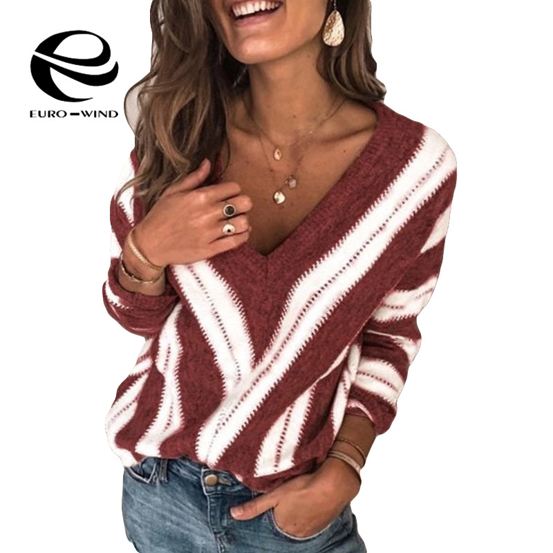 Plus Size 5XL New 2019 Autumn Winter Women's Sweaters V Neck Striped Pullover Korean Style Minimalist Casual Office Lady Sweater