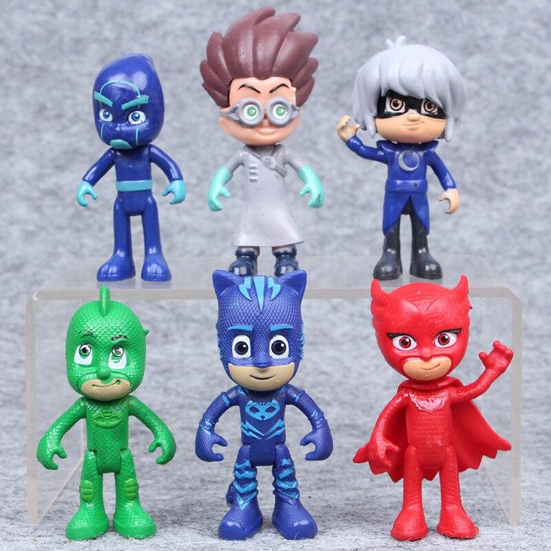 6pcs/set Cartoon Pj Masks Juguete Anime Movies Character Pj Masks Catboy OwlGilrs Gekko Masks Action Figures Toys For Child Gift