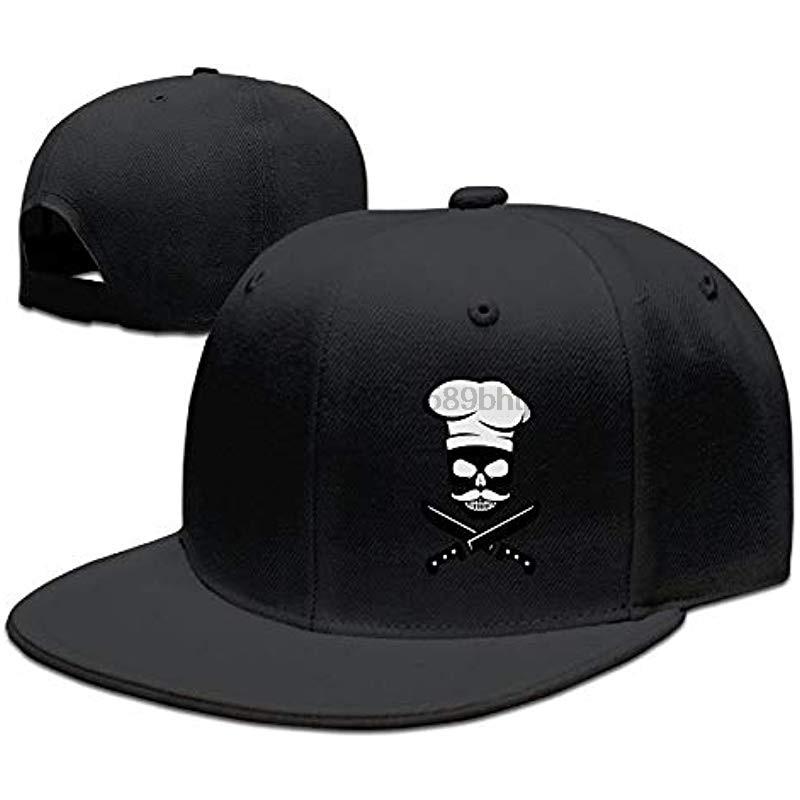 Skull Chef Mustache Unisex Snapback Adjustable Flat Bill Baseball Cap