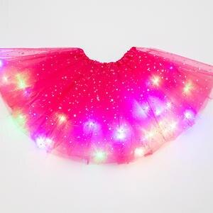 Skirt Glitter Dancewear Magic-Light Party Fashion Sequin Princess Tutu Tulle Ballet Stars