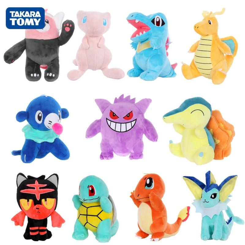 Genuine Pikachu Eevee Plush Toys Charmander Gengar Pichu Bulbasaur Mew Plush Stuffed Toys For Children