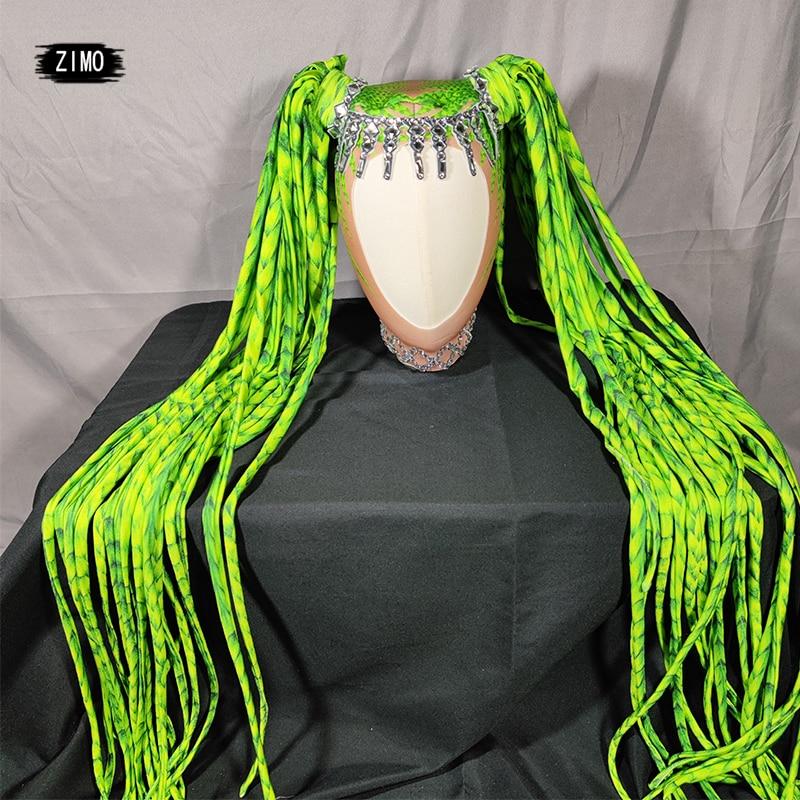 designer Rhinestone Self style Wig Women Crystal Long Hair Headwear gogo Nightclub Party green Headdress Dancer Stage Accessorie