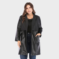 New Women's Classic Black Long Coat Large Mock Neck Slim Long Sleeve Women's PU Leather Cardigan Coat Casual Plus Size Jackets