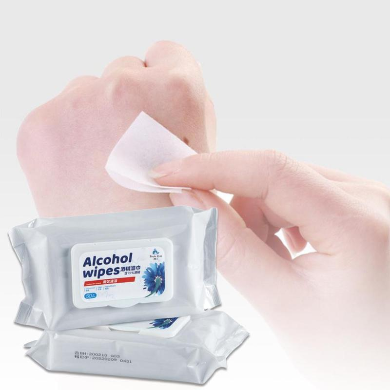 50pcs/bag Antiseptic Cleanser Sterilized Wet Tissue Disinfection 75% Alcohol Swabs Pads Wipes Cleaning Sterilization Wipe