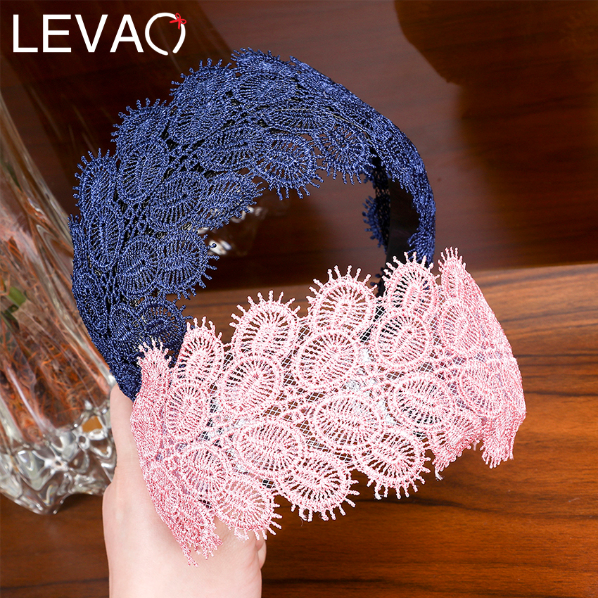 Lace Knitting Leaf Wide Lace Headband Handmade Crochet Flower Head Wrap Hairband For Women Non-slip Hair Hoop Bands Accessories