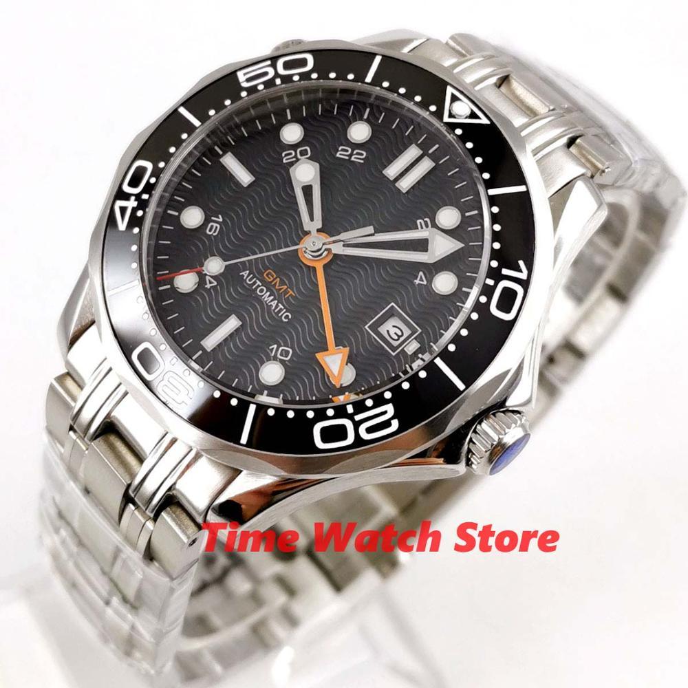 Bliger 41mm mechanical watch men waterproof dial date black ceramic bezel stainless steel bracelet GMT Auto wrist b295 | Fotoflaco.net