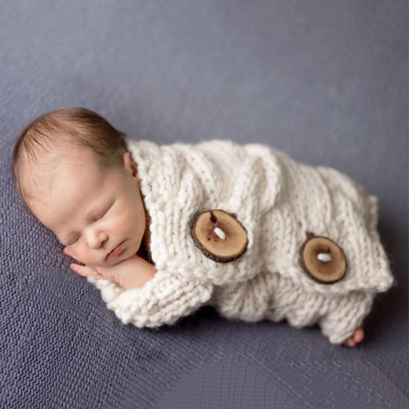Newborn Photography Props Posing Wrap Swaddle Baby Photo Shoot Prop Knitted Cover Infant Basket Props Backdrop Outfit