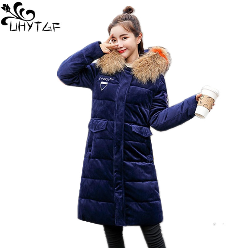 UHYTGF Winter Women Gold Velvet Jacket For Women Slim Hooded Coat Female Long   Parka   Big Fur Collar Thick Warm Women Outwear X364