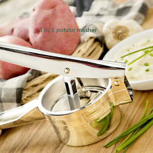Stainless Steel Potato Ricer Potato Mashers with 3 Interchangeable Fineness Discs Vegetable Fruit Press Maker Garlic Presser