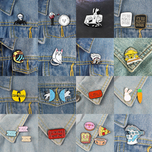 US $0.78 21% OFF|Skeleton Sandwich Metal Enamel Brooch Spider Cat Fox Rabbit Badge Angry Female Suit Guitar Movie Ticket Pin Trendy Jewelry-in Brooches from Jewelry & Accessories on AliExpress