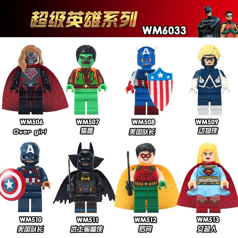 WM6033 Super Heroes Capitão América Falcon Clássico Robin Homem Animal Sobre a Menina Presentes Blocos de Construção de Tijolos Brinquedos Para As Crianças DIY