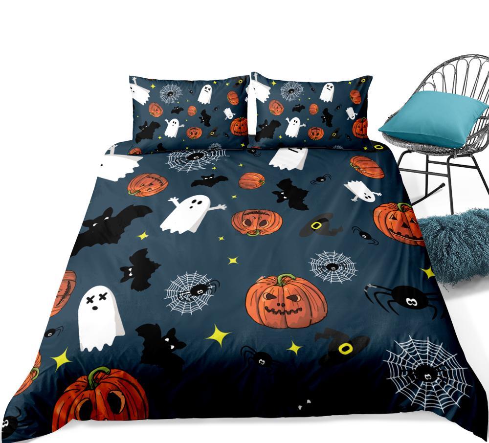 Halloween Duvet cover set  Bat with Pumpkin Bedding set 3pcs Festival quilt cover Orange pillow cases fashion home textile 4