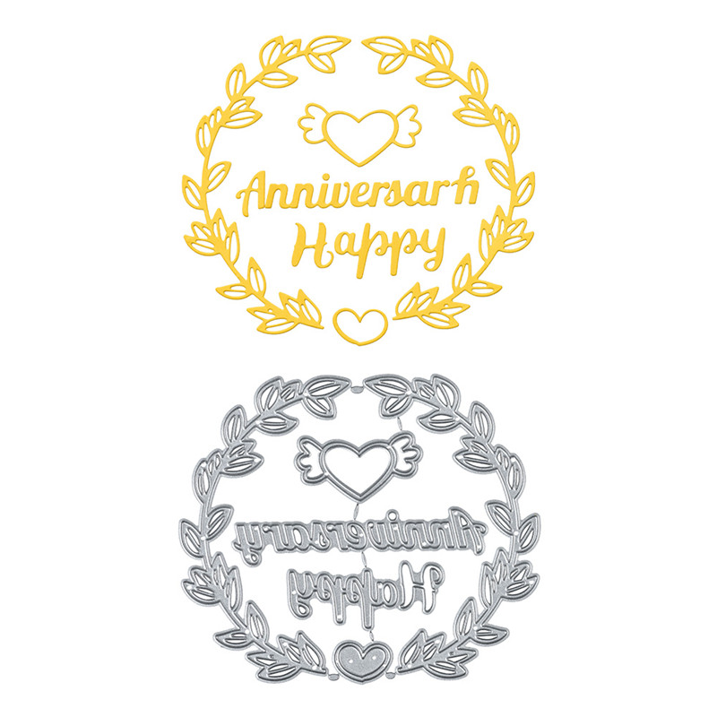 Naifumodo Happy Anniversary Letter Dies Love Metal Cutting for Card Making Scrapbooking Embossing Stencil Leaver