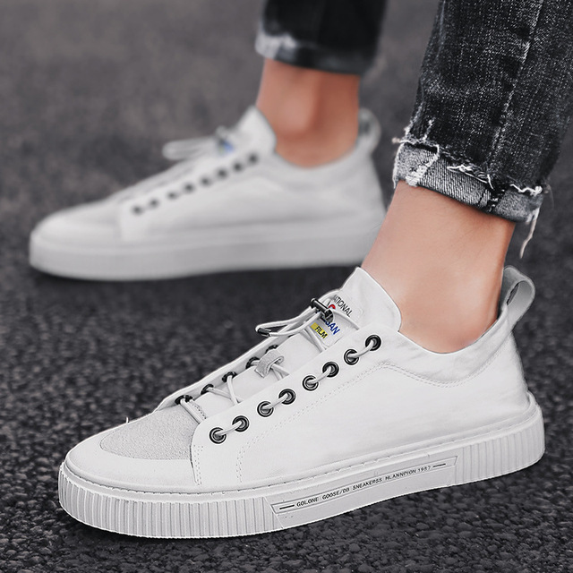 Elastic Band Men Canvas Casual Shoes Leisure Shallow Solid Flat Vulcanize Shoes Sewing Low Cut Summer Breathable Boys Sneakers