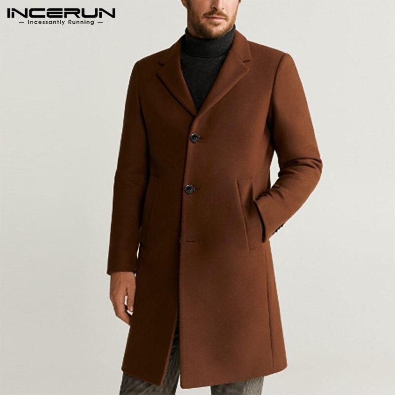 INCERUN Fashion Men Coats Solid Faux Wool Blends Long Sleeve Jackets Elegant 2020 Autumn Winter Chic Lapel Brand Mens Overcoats