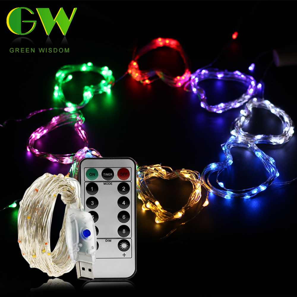 10M USB LED String Light Colorful Waterproof LED Copper Wire String Holiday Fairy Lights for Christmas Party Wedding Decoration