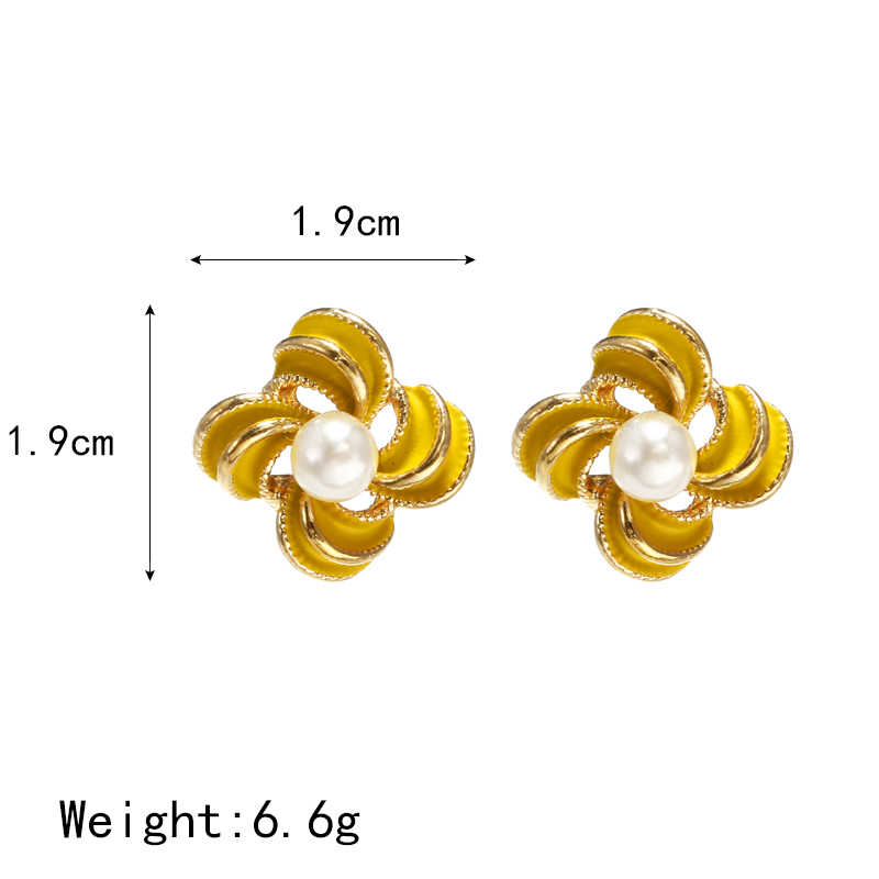 Thiết Kế Đơn Giản Tối Giản Trang Sức Bông Tai Hoa Vàng Xanh Đỏ Nhỏ Bông Tai Nữ Bông Tai Ngọc Trai D'oreille Cổ Điển