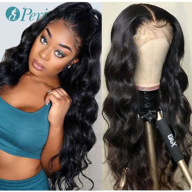 Cheap Synthetic Lace Front Wigs for Black Women PerisModa Black Color Body Wave Wigs for Daily Use Heat Resistant Synthetic Wigs