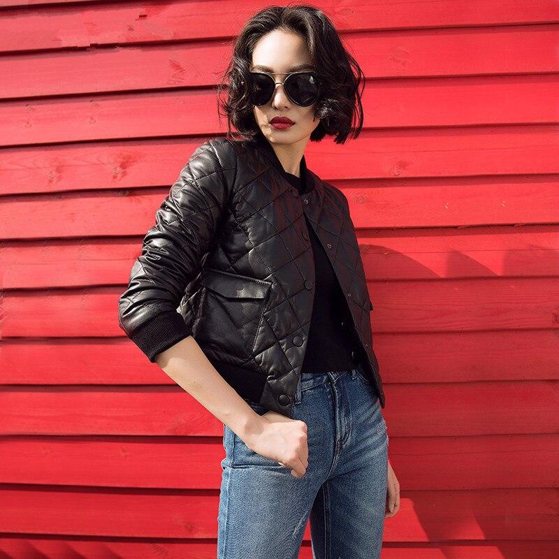 Sheepskin Real 100% Coat Female Korean Baseball Down Jackets 2020 Autumn Winter Jacket Women Genuine Leather Jacket MY