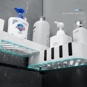 Image 3 - Corner Bathroom Organizer Shelf Shampoo Cosmetic Storage Rack Wall Mounted Kitchen Shelf Household Items Bathroom Accessories