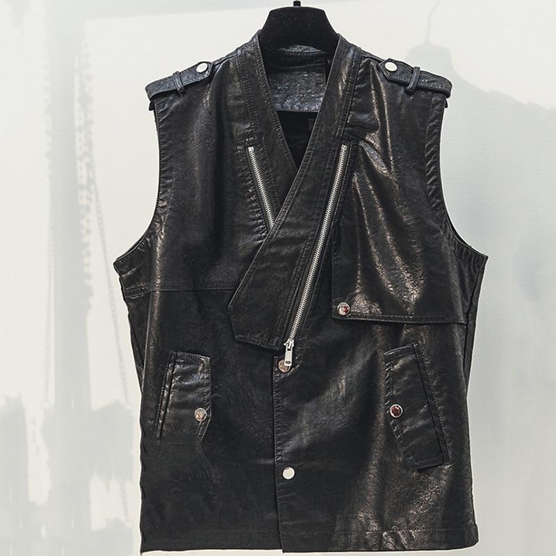 2019 Spring Korea Women Black PU Vest V-Neck Slim Sleeveless Jackets Faux Leather Waistcoat Motobiker Coats Fashion Streetwear