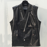 2019 Spring Korea Women Black PU Vest V Neck Slim Sleeveless Jackets Faux Leather Waistcoat Motobiker Coats Fashion Streetwear