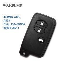 3 botões 433MHz Chip de Placa Não A433 ID74 WD04 Preto Keyless Go/Entrada Remoto Chave Do Carro Para Toyota Avensis 89904 05011