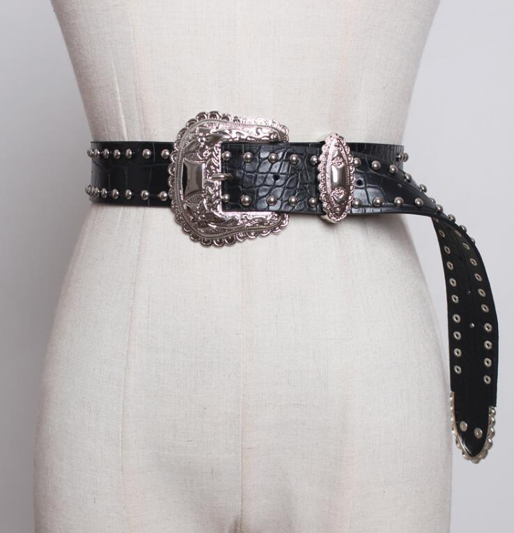 Women's Runway Fashion Rivet Pu Leather Punk Cummerbunds Female Dress Corsets Waistband Belts Decoration Wide Belt R1825