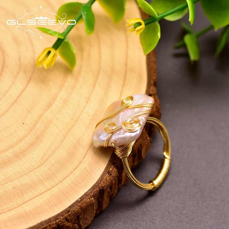GLSEEVO Baroque Pearl Ring Minimalism Geometric For Women Lovers' Wedding Engagement  Luxury Handmade Fine Jewellery GR0250