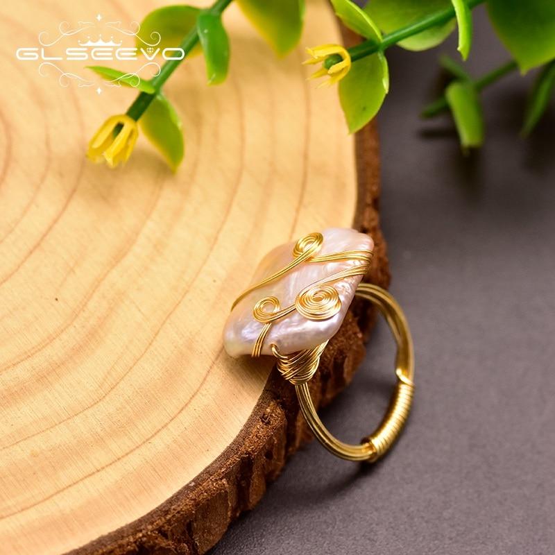 GLSEEVO Baroque Pearl Ring Minimalism Geometric For Women Lovers' Wedding Engagement  Luxury Handmade Fine Jewellery GR0250