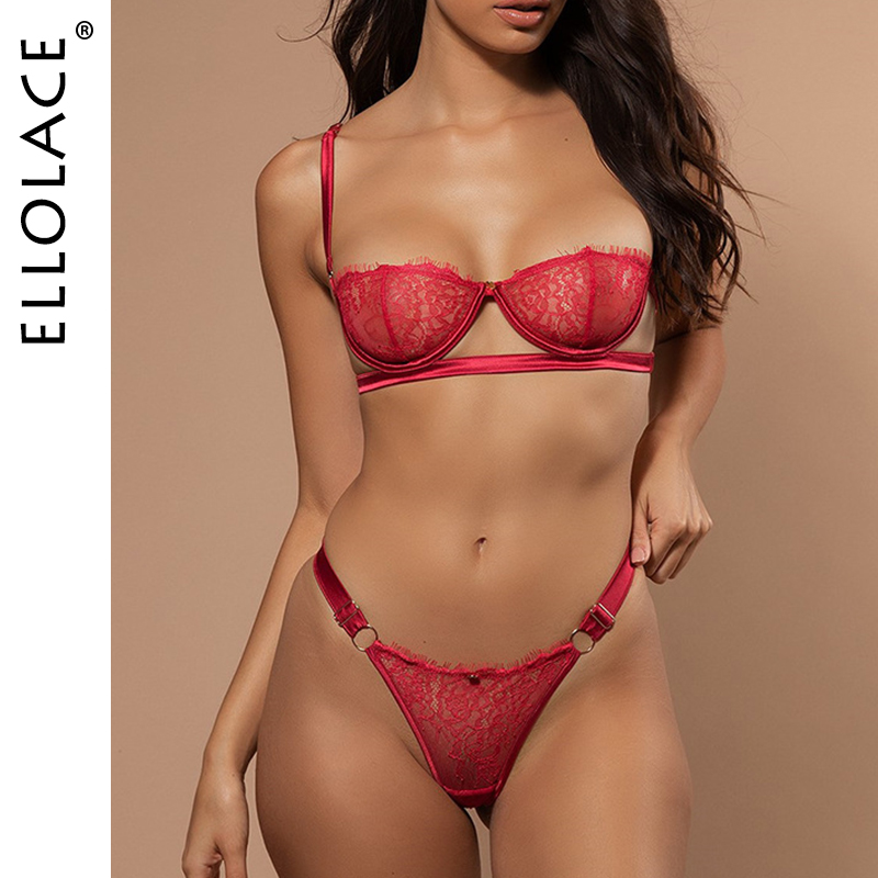 Ellolace Sexy Lingerie Underwear Set Women Lace 2 Piece Set See Through Bralette And Thong Bodycon G-String Sexy Bra Patry Set