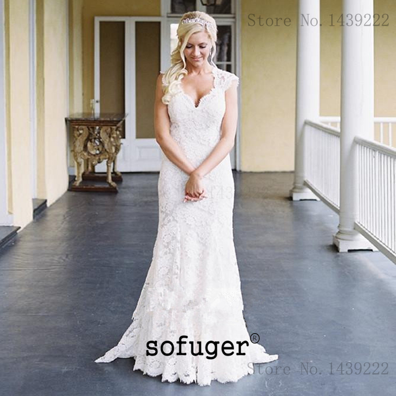 White Ivory Lace V Neck Mermaid Elegant Wedding Dress Backless Robe De Mariee Sofuge Boho Dubai Arabic Abiti Da Sposa