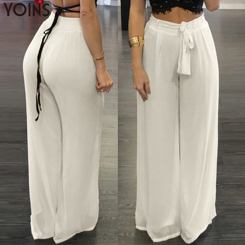 New Arrival Chiffon   Pants   2019 Autumn Fashion Sexy YOINS Women   Wide     Leg     Pants   Casual Loose Solid Elastic High Waist Trousers