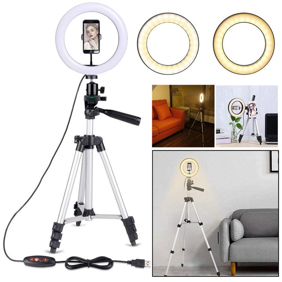 Xuprie 10 Inch LED Video Ring Light Lamp 3 Lighting Modes Dimmable With Phone Clip Macro /& Ringlight Flashes
